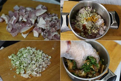 Nguyên liệu thịt xiên nướng lá móc mật